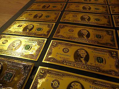 24 KARAT GOLD PLATED 2 DOLLAR USA  NOTE-GREEN SEAL-EACH IN RIGID PVC BILL HOLDER