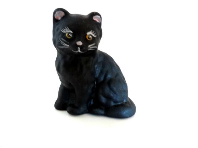 Mosser Glass Hand Painted Black Satin Kitten Cat Figurine 123BSFO