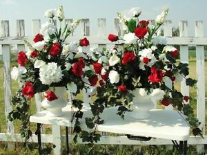 Details About Valentine Red White Wedding Silk Altar Arrangements Church Holiday Parties Decor