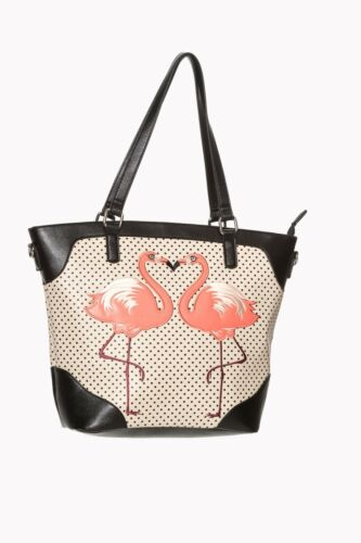 Women/'s Nude Flamingo Polka Dot Vintage Retro Shoulder Bag By Banned Apparel