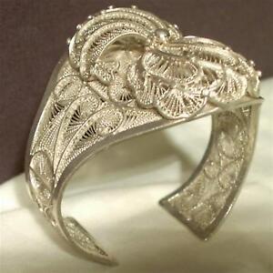 Vintage-Ornate-Filigree-Bracelet-Silver-Cuff-6-1-8-034-Rare-Handmade-Art-Jewelry