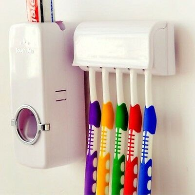 Automatic Toothpaste Dispenser + 5 Toothbrush Holder Set Wall Mount Stand Sale