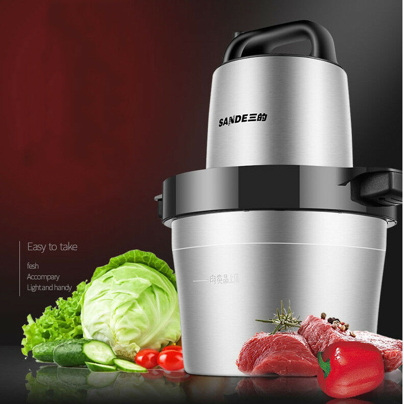 220V 6L 1KW Stainless Steel Electric Meat Grinder Crushed Garlic Pepper Cutter