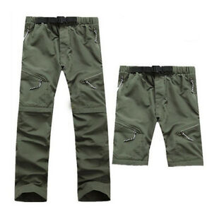 Mens-Quick-Dry-Zip-Off-Convertible-Pants-Shorts-Hiking-Travel-Trousers-ERT6