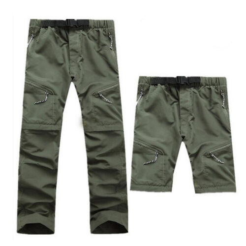 Mens Quick Dry Zip Off Convertible Pants Shorts Hiking Travel Trousers GEU5