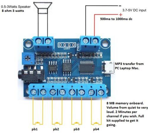 MODEL RAILWAY TRAIN STEAM DIESEL ENGINE SOUND//EFFECTS PLAYER KIT 4 CHANNELS 8 MB