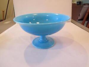 VINTAGE-Robin-Egg-Blue-FRENCH-OPALENE-Pontil-Footed-Compote