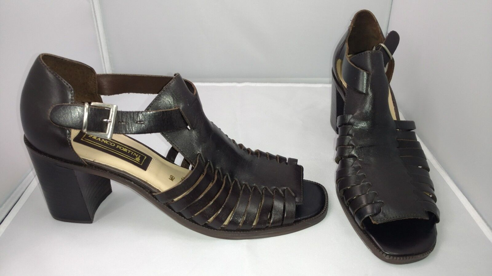Designer Franco Fortini Fancy Chunky Heel Brown Leather Sandals Womens 8M shoes