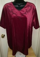 Bentley Woman's Plus Burgandy Velour Feel W/ Beads Shirt Size 1x