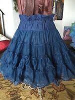 Vintage Blue Nylon Square Dance Petticoat