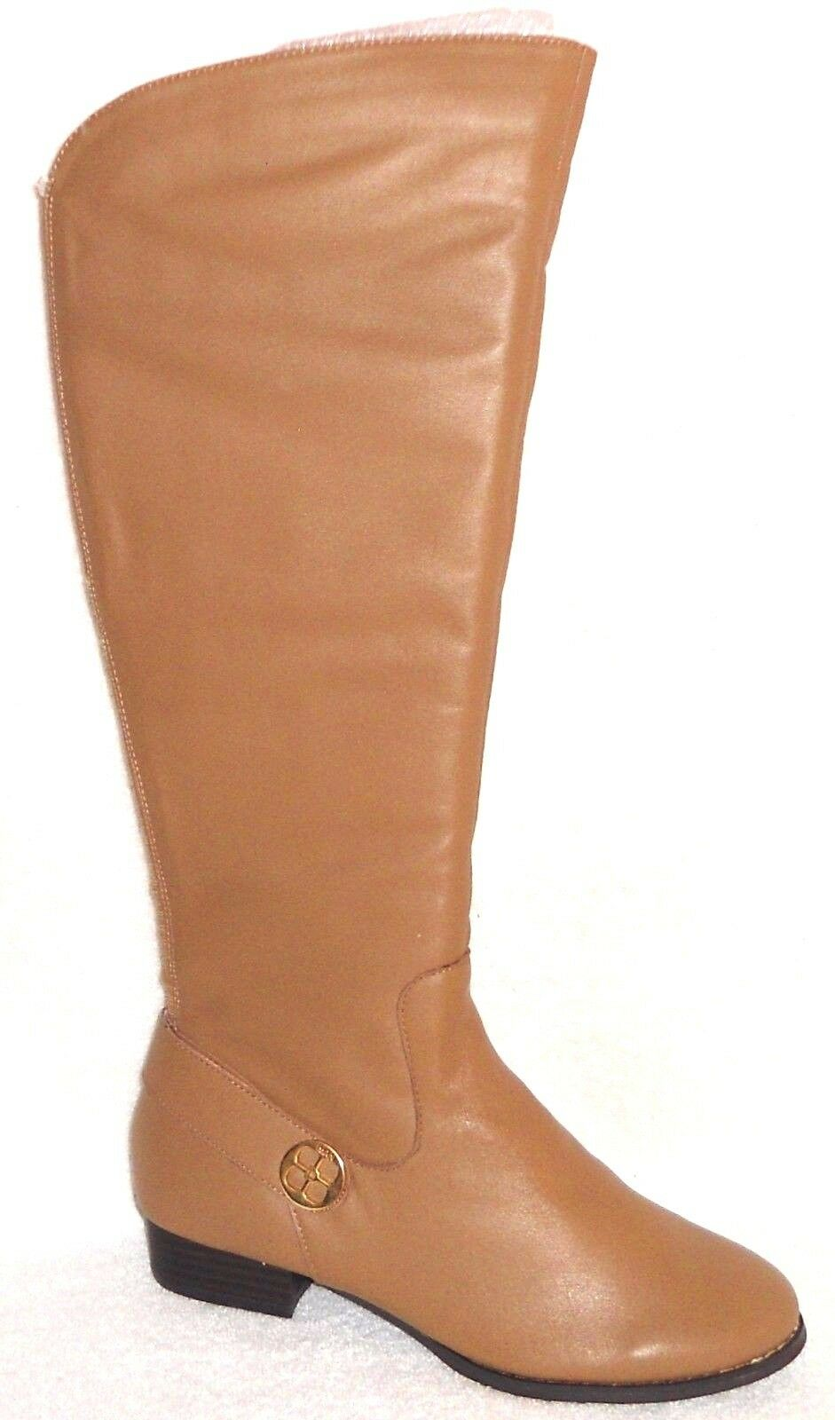 New IMAN PLATINUM RICH CAMEL LEATHER RIDING BOOTS 8 W