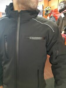 BUSA-All-Season-Motorcycle-Soft-Shell-Waterproof-Black-Hoodie-Armour-APEX-Jacket