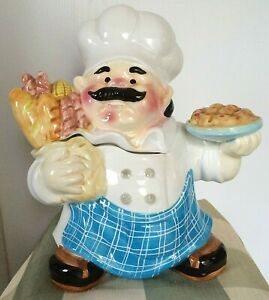 Chubby-Pastry-Chef-Cookie-Jar-Container-Baked-Goodies-Rosy-Cheeks-Bushy-Mustache