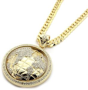 Mens gold iced out the world earth pendant hip hop 30 inch cuban image is loading mens gold iced out the world earth pendant aloadofball Gallery