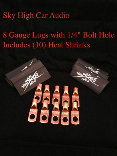 "10 8 Gauge Copper Ring Terminals 1//4/"" BLACK Heat Shrink Tubing LUGS"
