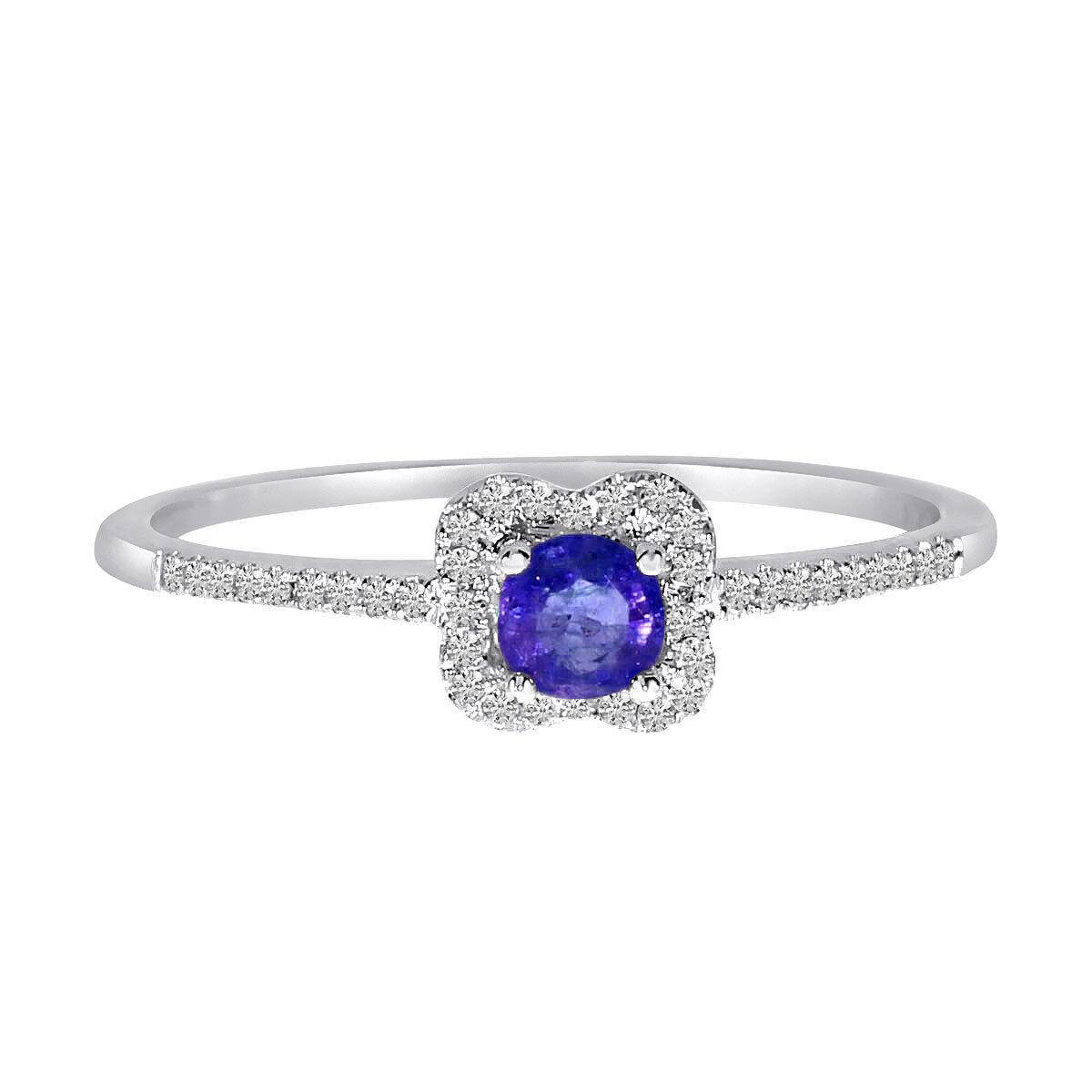 14k White gold Sapphire and .11 ct Diamond Ring