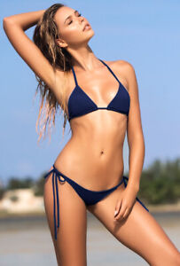 Sexy thong back navy solid 2 piece bikini
