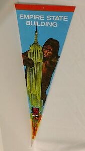 Vintage New York City King Kong Empire State Building pennant. Funky, retro NY