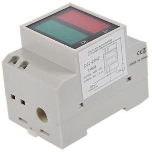 Din-Rail-AC-110V-220V-Digital-Voltimetro-Amperimetro-Rojo-Voltio-Verde-Amp-Me-K5