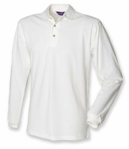 Henbury-à manches longues 100/% Coton Pique Polo Shirt-Tailles S-XXL