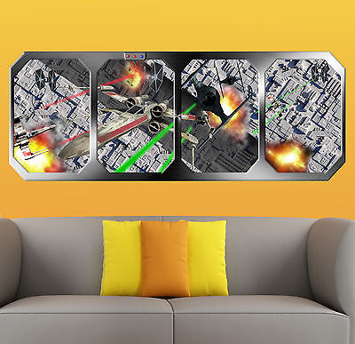 STAR WARS   RAID on the DEATH STAR  !!!  GIANT WINDOW VIEW   PRINTED POSTER