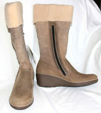 Women's Shoes ECCO 'Shiver' Wedge BOOTS High Cut Zip Navajo Brown Sz 11 US NEW