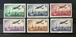 France-1936-Survol-de-Paris-Y-amp-T-N-s-8-a-13-Neufs-Sans-Charniere