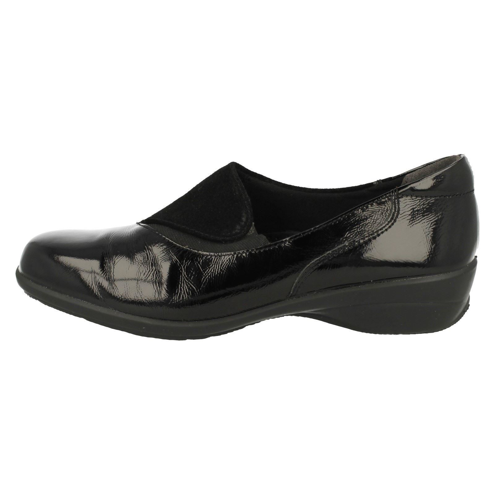 Easy B DB Swing Mujeres Sin Cordones Elegante Cuero Negro Negro Negro Plano Ancho Pantalones acdcdc