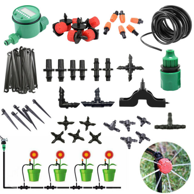 Garden 4/7mm Hose Micro Drip Irrigation System Auto Timer Plant Self Watering