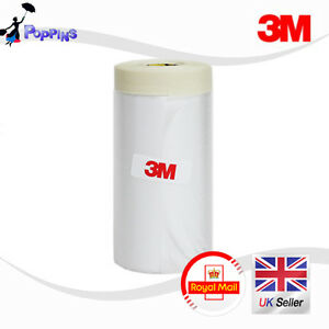 3M-900mm-Drop-Cover-Roll-Masking-Tape-Poly-Film-Sheet-Pre-Folded-20m-Roll-WHITE