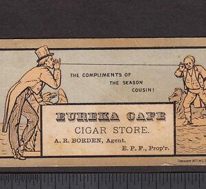 1877 Cigar Telephone Uncle Sam Eureka Cafe Borden Habana Tobacco Prang Ad Card