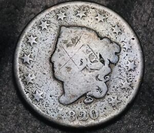 1820 Large Cent Coronet Head 1C Ungraded Early Good Date US Copper Coin CC5382