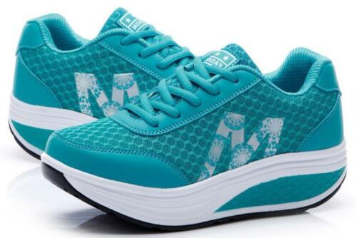 Womens Casual Mesh Shape-Ups Slip On Lace Up Walking Sport Shoes Sneakers .