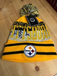 e4f5d55a Details about Pittsburgh Steelers Beanie Winter Hat Scull Cap Black And  Yellow With Pom Pom