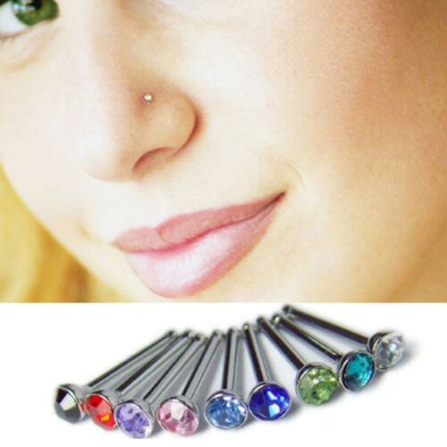 Chic Charm Crystal Rhinestone Nose Ring Bone Stud Pretty Bodypiercing Jewelry KW