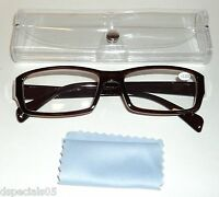 Unisex Reading Glasses Brown Frame Clear Case & Blue/grey Lens Swipe +3.25