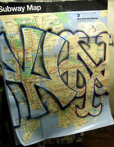 Details about NY YANKEES/METS GRAFFITI SUBWAY MAP HUGE