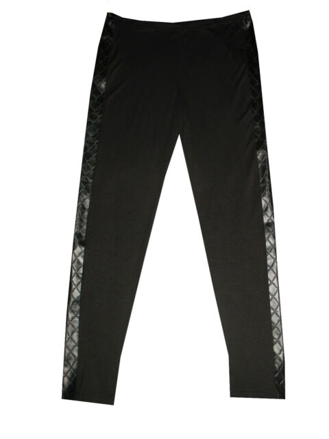 Plus size black with padded pu side panel leggings