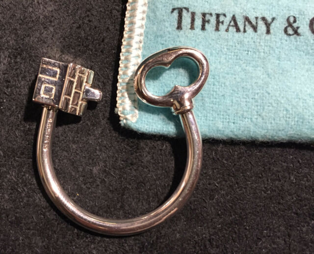 *Tiffany & Co. 925 Sterling Silver House & Key Ring Key Chain-Very Nice (#2)*