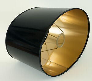 lampenschirm mittelgross schwarz gold lack f r tischlampen e27 oval xl stehlampe ebay. Black Bedroom Furniture Sets. Home Design Ideas