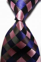 New Classic Checks Purple Pink Black JACQUARD WOVEN 100% Silk Men's Tie Necktie