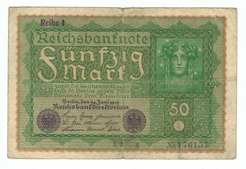 GERMANY REICHSBANKNOTE 50 MARK BERLIN 1919