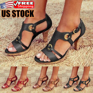 Womens-Stiletto-Kitten-Heels-Sandals-Ladies-Ankle-Strap-Summer-Work-Casual-Shoes