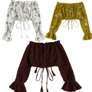 Fashion-Women-Summer-Off-Shoulder-Chiffon-Long-Sleeve-Print-Blouse-Tops-T-Shirt