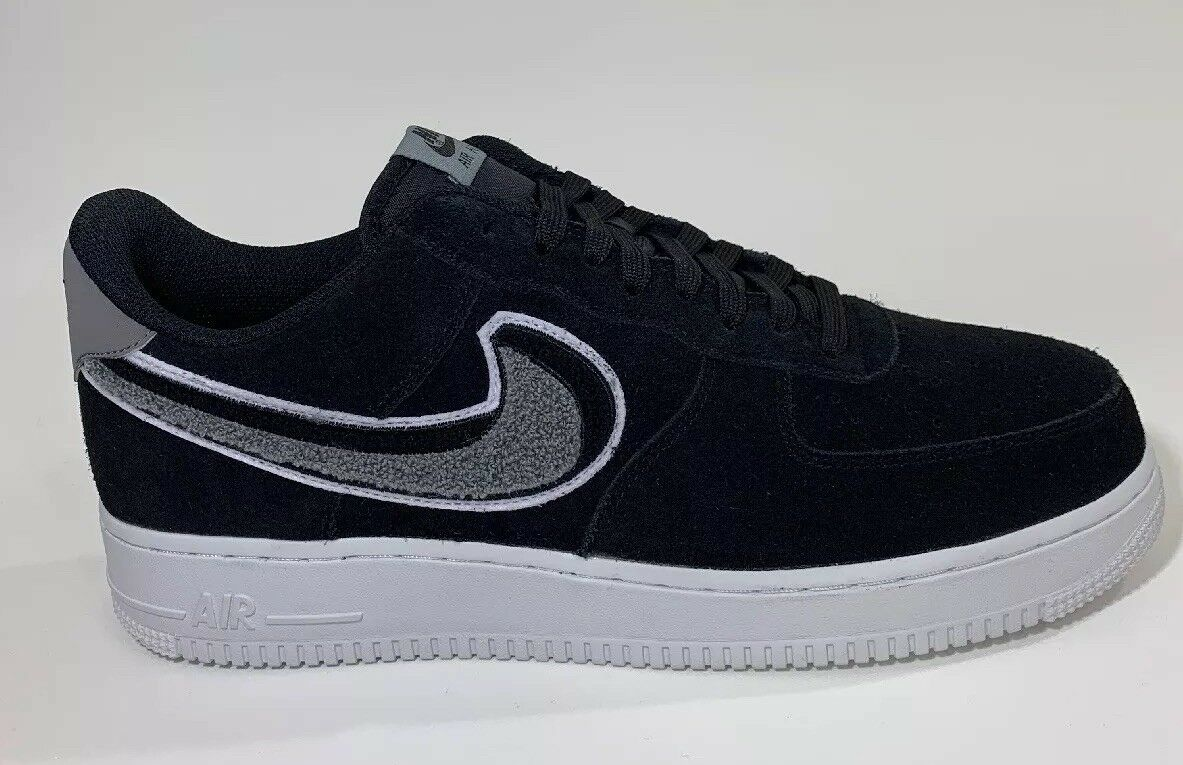 738004167 Nike Air Force 1 '07 Lv8 Chenille Swoosh Mens 823511-014 Black Shoes ...