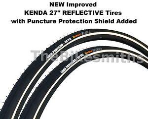 "2PAK KENDA K35 REFLECTIVE K-SHIELD 27"" x 1-1/4 Flat Guard Black Wall Bike Tire"