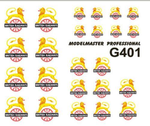 MODELMASTER G401 BR LION ASTRIDE WHEEL LOCO CRESTS 1948-1956 DECALS TRANSFERS
