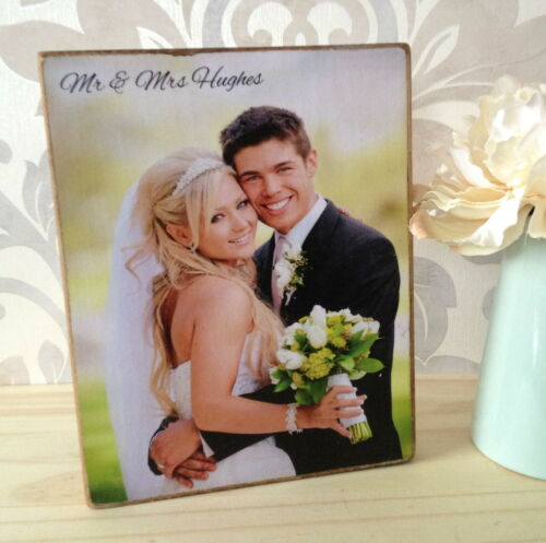 Handcrafted Wooden Personalised Wedding Engagement Family Photo Frame Block Gift