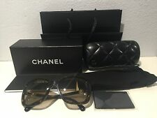 Auth. Chanel Classic Square Pearl Sunglasses Dark Tortoise Frame