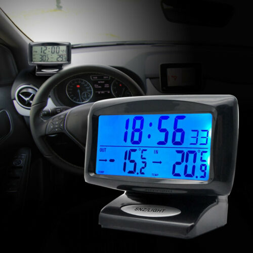 Electronic Clock Inside Outside Temperature Gauge Car Truck Vehicle Thermometer